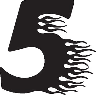 Flaming 5 decal