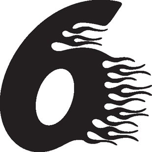 Flaming 6 decal