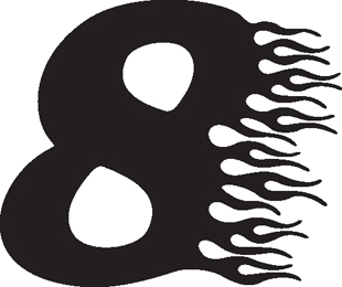 Flaming 8 decal