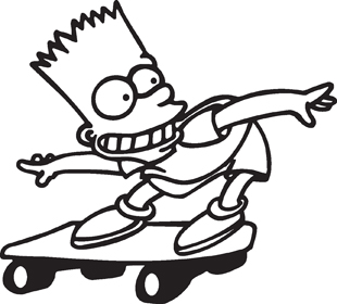 Bart on Skateboard decal