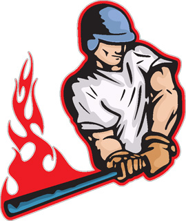Flaming Baseball Batter decal
