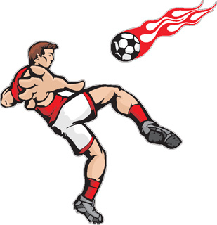 Flaming Soccer Player decal 5
