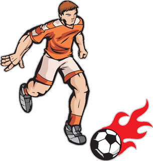 Flaming Soccer player decal