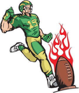 Flaming Football Kick decal