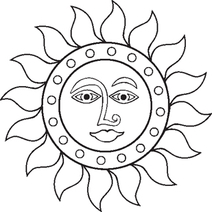 sun face decal
