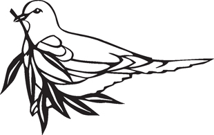 Peace dove with olive branch decal