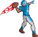 Flaming Football Player decal 4