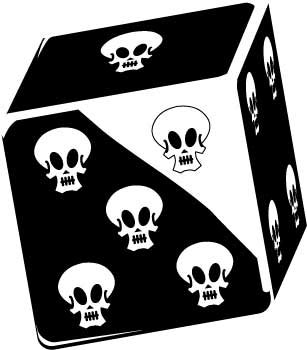 dice and skull